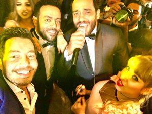 رامى جمال مع مع تامر عاشور وعروسه سمر
